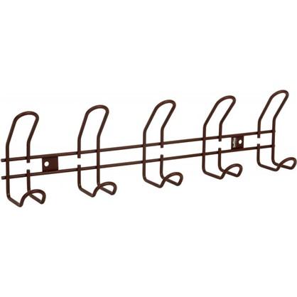 Вешалка настенная SHT-WH14-5 48.5х13 см металл цвет коричневый муар цена