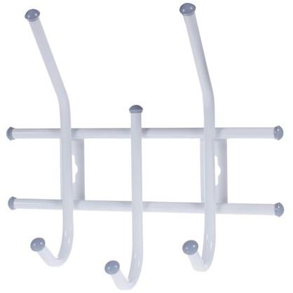 Вешалка настенная Стандарт 3 крючка 11х28х32 см цвет белый цена