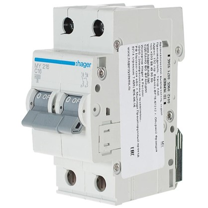 Автоматический выключатель Hager 2 полюса 16 A