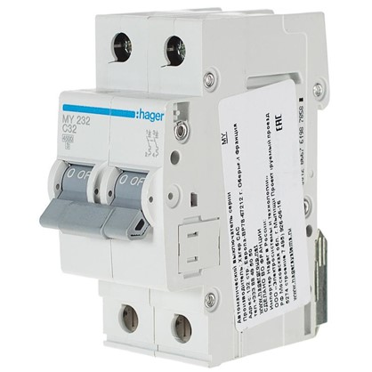 Автоматический выключатель Hager 2 полюса 32 A цена