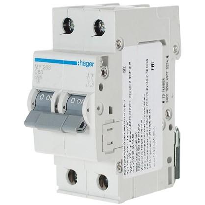 Автоматический выключатель Hager 2 полюса 63 A цена