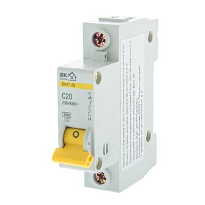 Автоматический выключатель IEK Home В А47-29 1 полюс 20 А цена