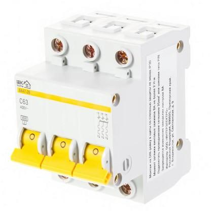Автоматический выключатель IEK ВА47-29 3 полюса 63 А цена