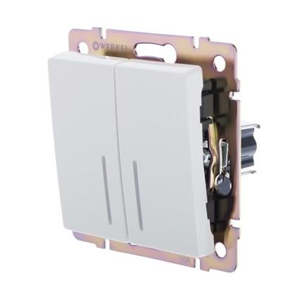 выключатель Werkel 2 клавиши с подсветкой цвет белый