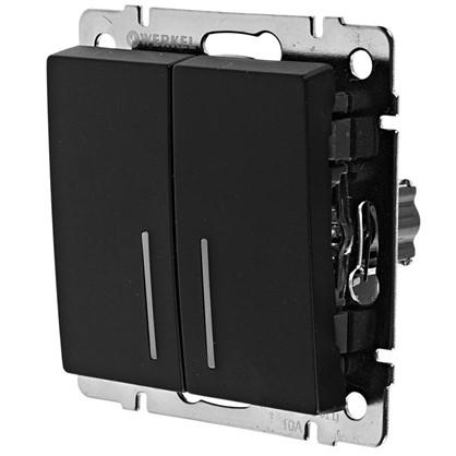 Выключатель Werkel 2 клавиши с подсветкой цвет черный