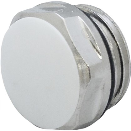 Заглушка с прокладкой наружная резьба 1/2 дюйма цвет никель