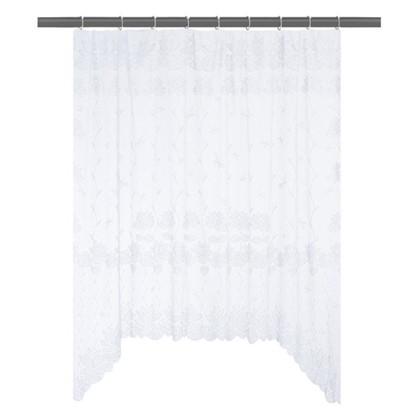 Занавеска для кухни на ленте Лилии 200х165 см жаккард цвет белый цена