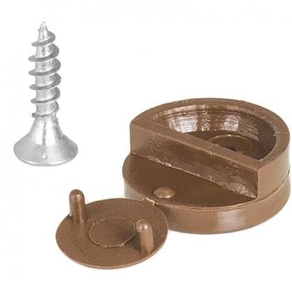 Зеркалодержатель мебельный с шурупом пластмасса цвет темно-коричневый 8 шт.