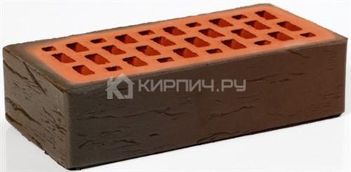 Кирпич облицовочный темный одинарный руст М-200 Пятый Элемент