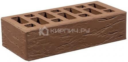 Кирпич облицовочный коричневый одинарный рустик М-150 СтОскол