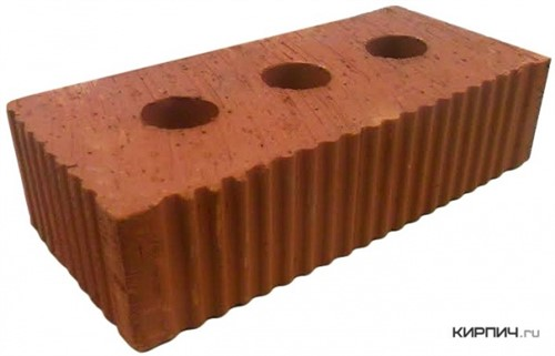 Кирпич строительный полнотелый с тех.пустотами одинарный М-300 рифленый Каширский кирпич цена