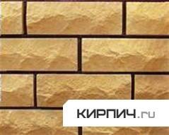 Силикатный кирпич желтый полуторный рустированный угол КЗСК