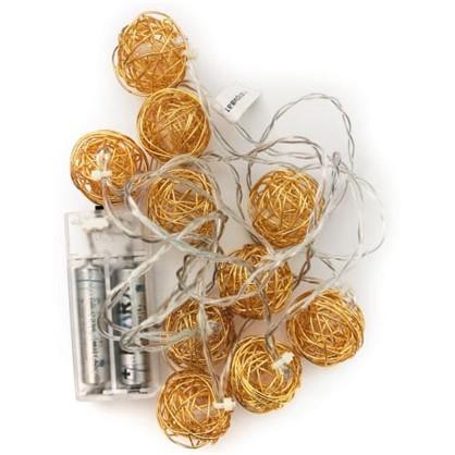 Светодиодная гирлянда Металлические шарики для дома 10 ламп цена