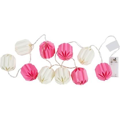 Гирлянда светодиодная бумажная на батарейках цвет розовый/белый цена