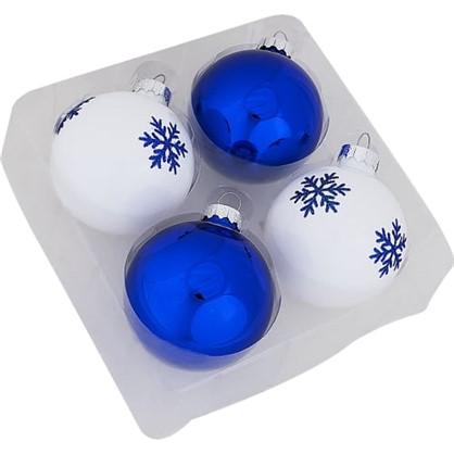 Набор Елочных Украшений 4 Шара Стекло Цвет Синий Белый