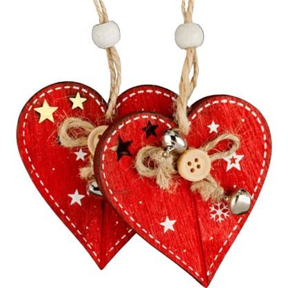 Набор Елочных Украшений Erichkrause Decor Сердце 12 См Дерево Цвет Красный 2 Шт. цена