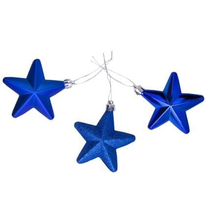 Набор Елочных Украшений Звезда 8 См Цвет Синий 3 Шт.
