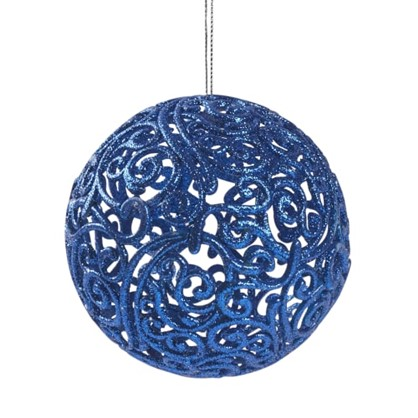 Шар Елочный Ажурный 10 См Пластик Цвет Синий цена