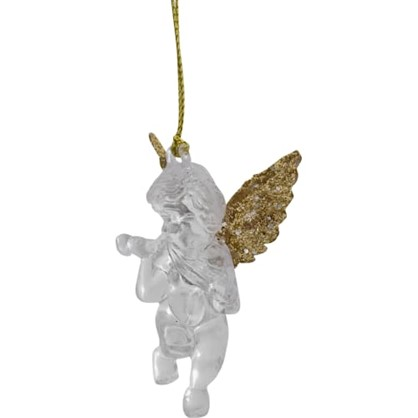 Украшение Новогоднее Ангел Малый Со Скрипкой Пластик Цвет Прозрачное Золото цена