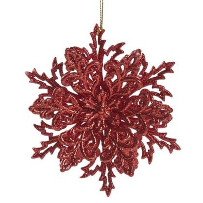 Украшение Новогоднее Снежинка Классика 4 См Пластик Цвет Красный