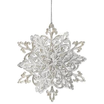 Украшение Новогоднее Снежинка Классика 4 См Пластик Цвет Серебро
