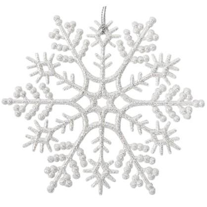 Украшение Новогоднее Снежинка Классика Пластик Цвет Белый цена