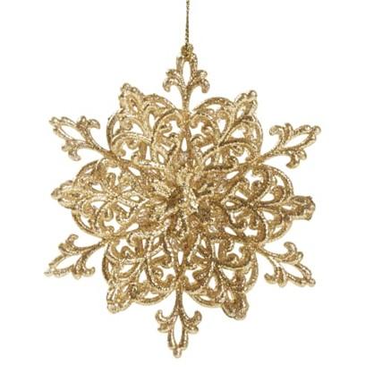 Украшение Новогоднее Снежинка Классика Пластик Цвет Золотой