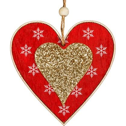Украшение Елочное Erichkrause Decor Сердце 10.5 См Дерево Цвет Красный цена